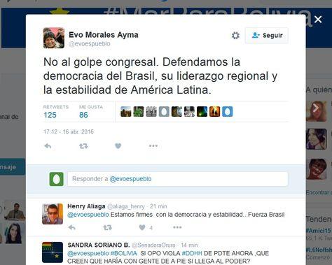 quinto Twiit del presidente Evo Morales