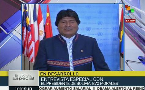 Morales en entrevista con Telesur
