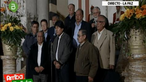 El presidente Evo Morales y los dirigentes de los jubilados anuncian el acuerdo sobre incremento a las rentas.