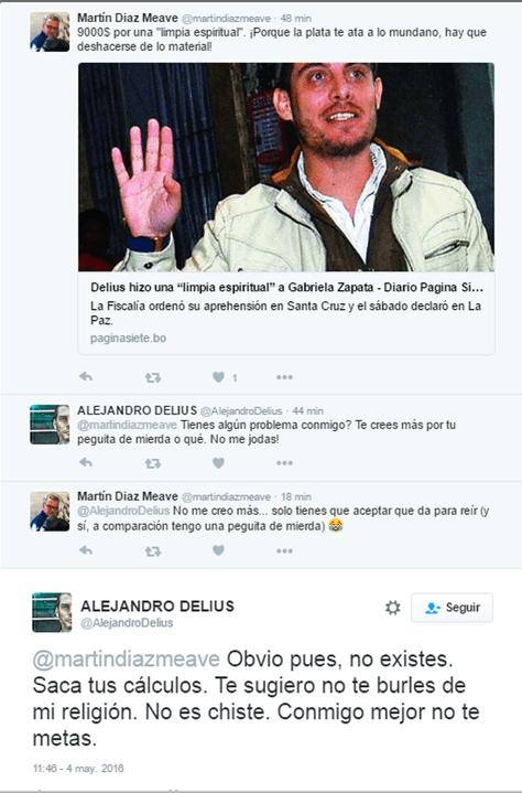 Uno de los intercambios publicados en la cuenta de Twitter de Alejandro Delius