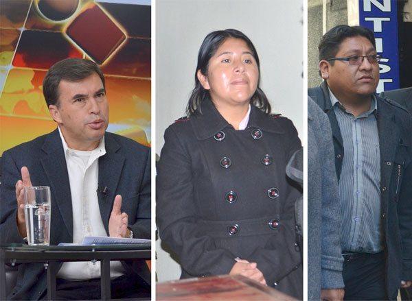 MINISTRO JUAN RAMÓN QUINTANA, CRISTINA CHOQUE Y JIMMY MORALES.
