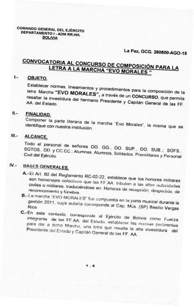 El Ejército llamó a concurso para componer marcha a Evo en 2015