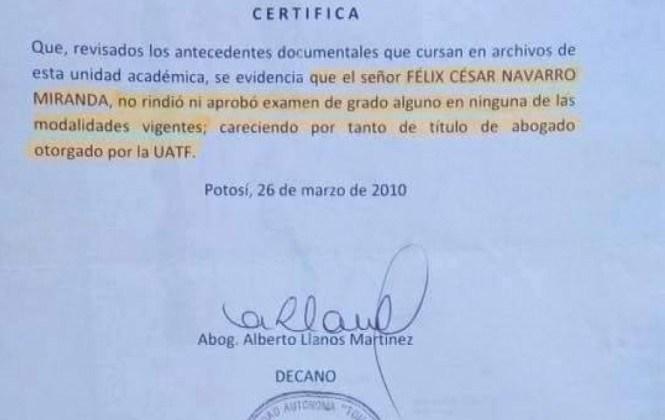 Universidad Tomás Frías confirma que César Navarro no tiene título de abogado