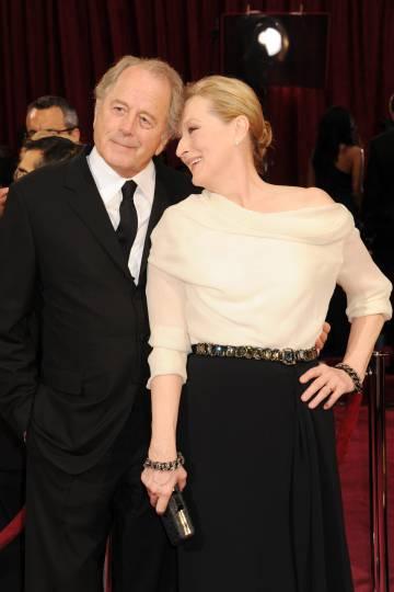 Meryl Streep y Don Gummer en la 86º gala de los Oscar, en 2014.