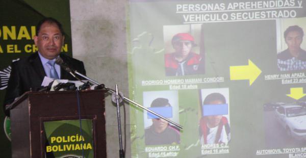 Los delincuentes fueron presentados este lunes  por el ministro de Gobierno, Carlos Romero