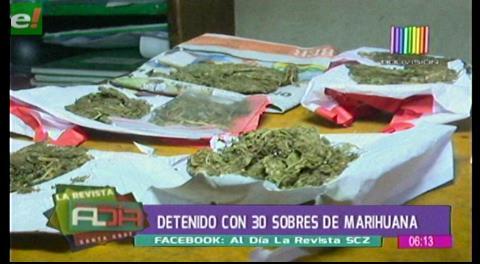 Detienen a sujeto con 30 sobres de marihuana