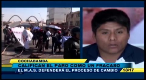 Presidente del MAS en Cochabamba dice que el paro de la COB es un fracaso