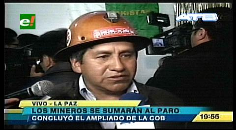 Mineros se suman al paro de 72 horas de la COB