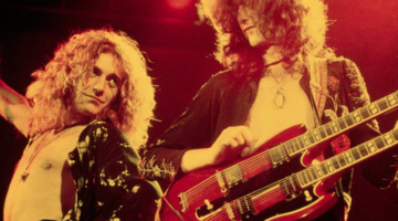 Robert Plant and Jimmy Page onstage in 1975 in the US.