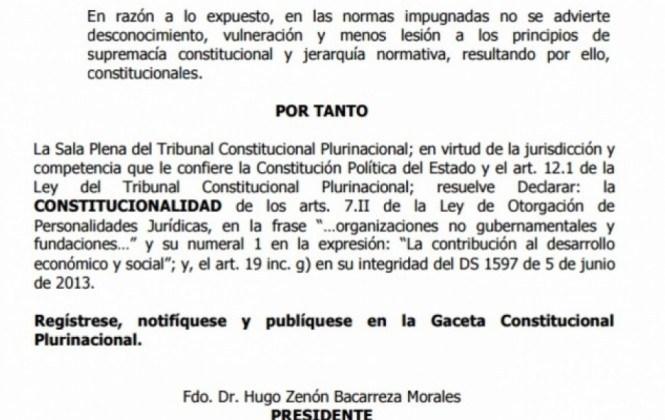 Cedib observa que el TCP haya omitido recomendaciones de las NNUU sobre la Ley 351