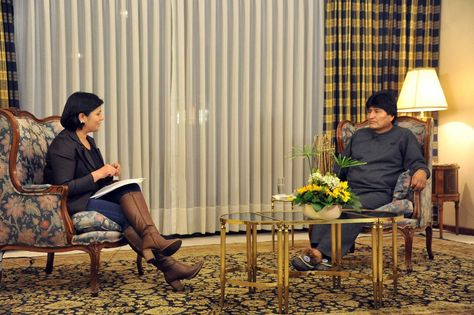 El presidente Evo Morales durante su entrevista en Abia Yala. Foto: ABI