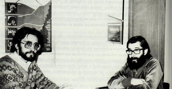 Carlos D. de Mesa Gisbert y Pedro Susz Kohl, en la  época en  que trabajaban como directores ejecutivos de la Cinemateca