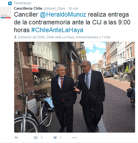 La Cancillería de Chile informó en este tuit sobre la presentación de la contrademanda en La Haya.