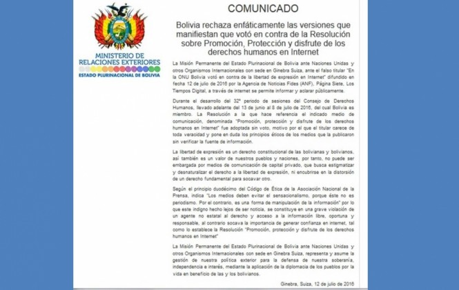 La cancillería acusa a medios bolivianos de violar el derecho y acceso a la libre información