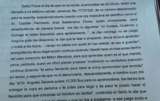 Capitán de Policía es acusado de extorsionar con $us 10.000 a una teniente para no encarcelarla