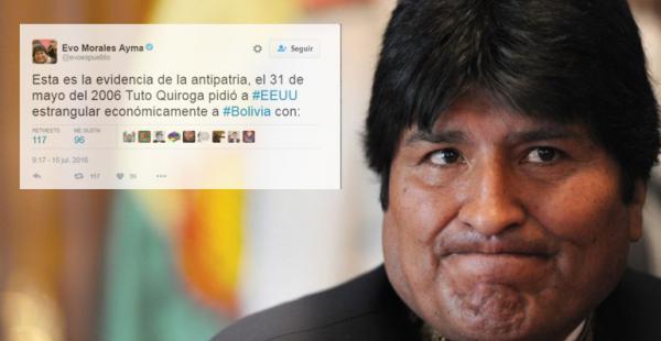 El presidente del Estado, Evo Morales, criticó a Tuto Quiroga en Twitter