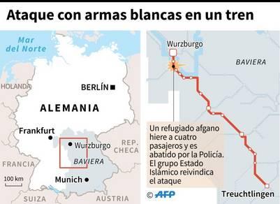 Localización de la ciudad donde un refugiado afgano atacó a pasajeros en un tren en Alemania / AFP