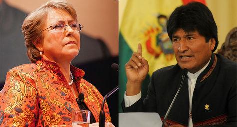 Los presidentes de Chile, Michelle Bachelet, y de Bolivia, Evo Morales.