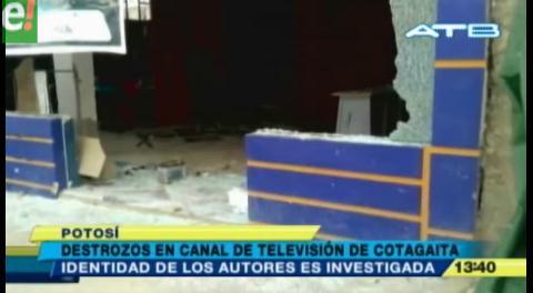 Delincuentes causan destrozos en canal de Tv en Potosí