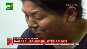 La Policía de Warnes aprehende a mujer que pagaba con billetes falsos