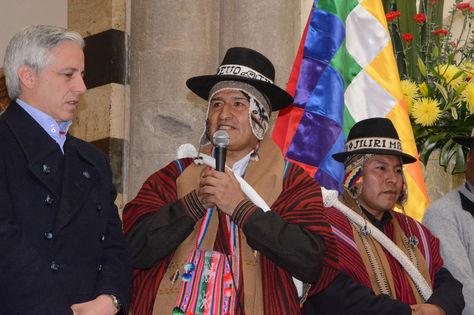 Presidente Evo Morales recibe saludo de mallkus de Tiahuanaco y anuncia estudio de doble vía El Alto-Desaguadero en Palacio de Gobierno. Foto: ABI