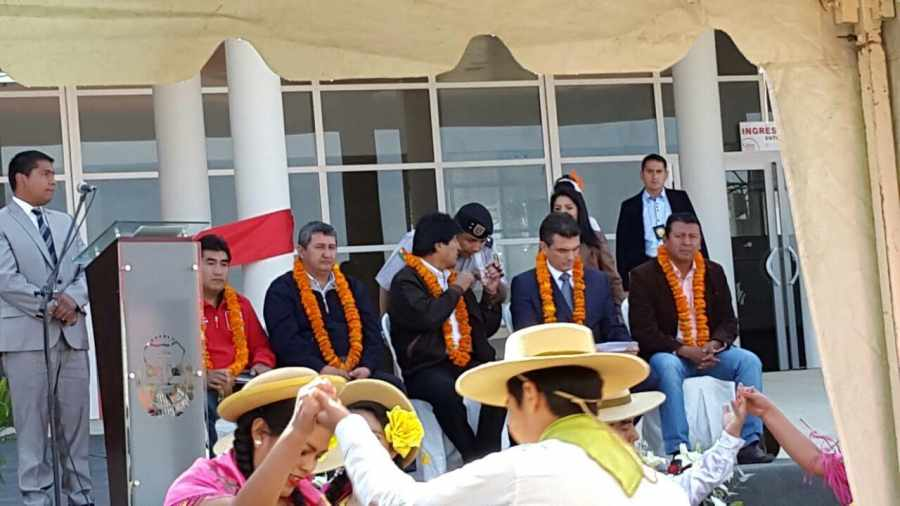 Evo Morales y Rodrigo Paz Pereira, acompañados de Williams Guerrero, de la ALDT y Rosas, dirigente vecinal