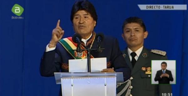 El presidente del Estado, Evo Morales, en su mensaje a la nación