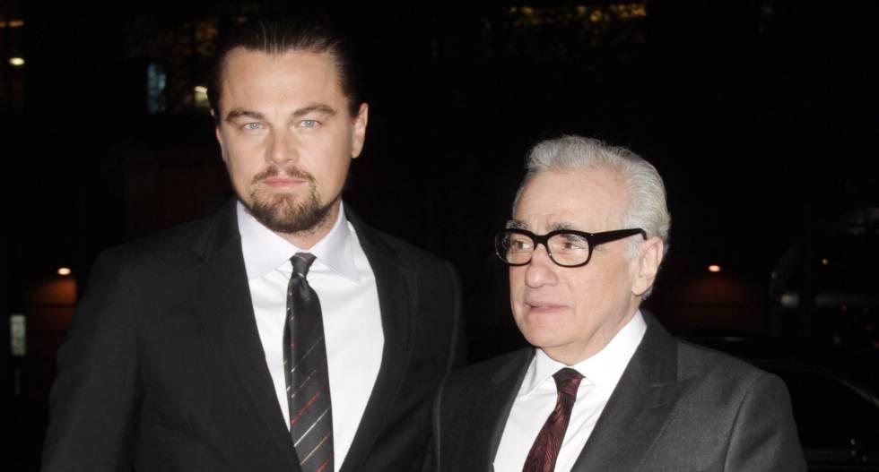 El actor Leonardo DiCaprio y, a la derecha, el cineasta Martin Scorsese.
