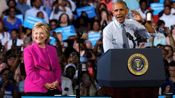 Obama, durante la campaña con Hillary, el mes pasado.