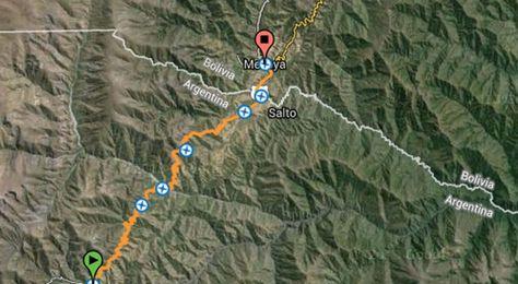 Ruta que proyecta la nueva vinculación vial entre Bolivia y Argentina.