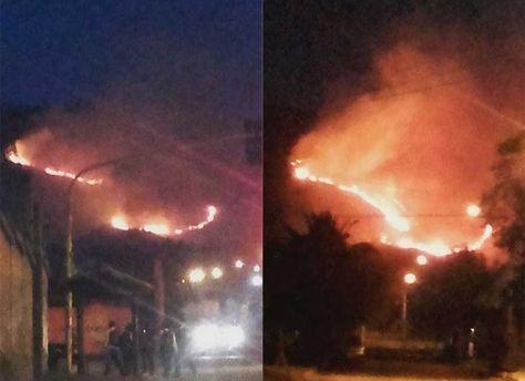 Dos imágenes del incendio. Foto: Carla Montes