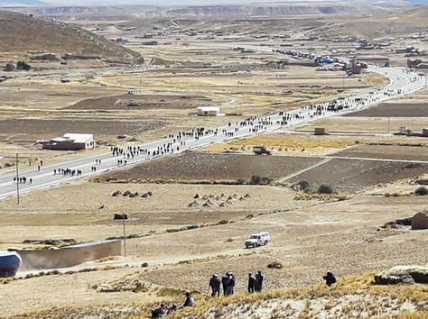 Bloqueo de cooperativistas en la ruta La Paz - Oruro.