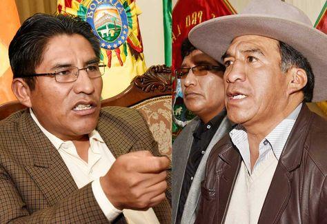 El gobernador Félix Patzi y el presidente del Comité Cívico Pro Departamento de La Paz, Clemente Gutiérrez.