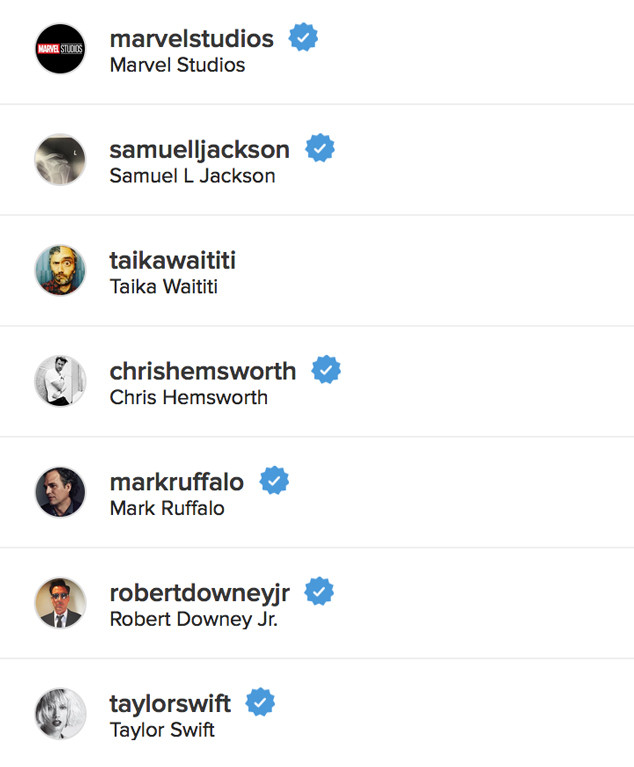 Tom Hiddleston Following Taylor Swift on Instagram