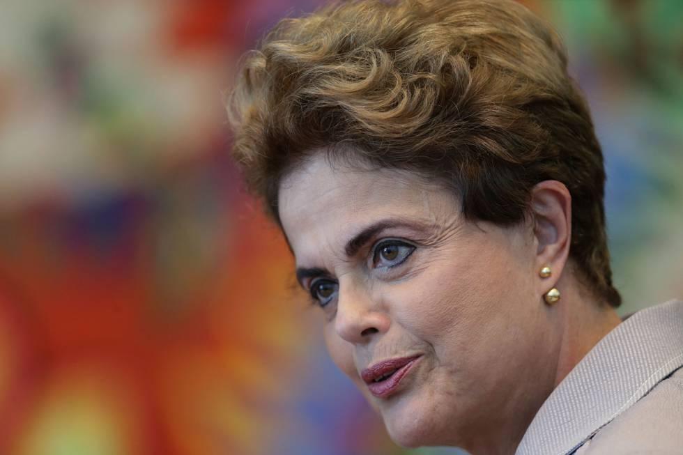 Dilma, durante una conferencia de prensa con periodistas extranjeros en julio