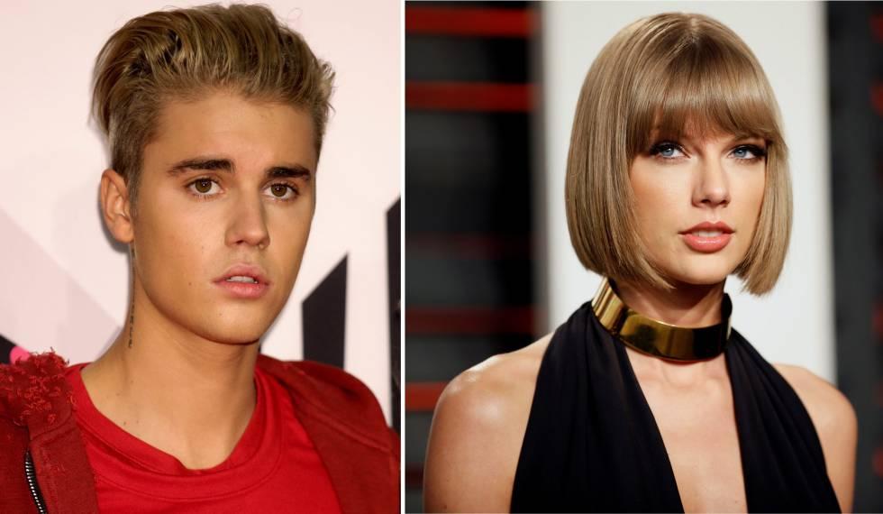 Los cantantes Justin Bieber y Taylor Swift.