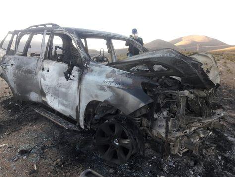 El estado en que fue encontrado el vehículo en el que iban Illanes y su edecán. Foto: Redes sociales