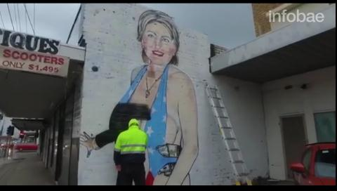 Vea cómo un artista australiano modifica su mural de Hillary Clinton que causó un escándalo