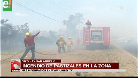 Incendio de pastizales en la zona de San Aurelio