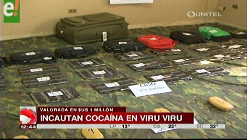 Incautan droga valuada en 1 millón de dólares en Viru Viru