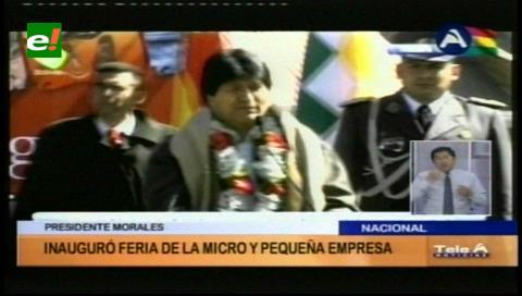 Evo llama a consumir lo «Hecho en Bolivia», al inaugurar feria de la Micro y Pequeña Empresas