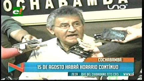 Disponen horario continuo el 15 de agosto para la administración pública de Cochabamba y Quillacollo
