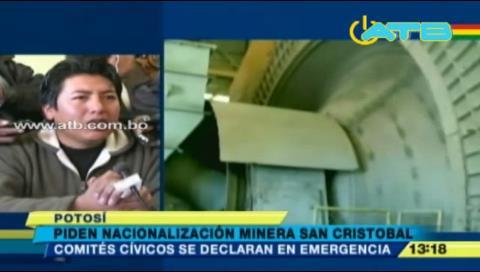Cívicos piden la nacionalización de San Cristóbal