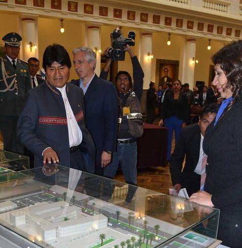 El presidente Evo Morales en la presentación del plan Hospitales para Bolivia. Foto: La Razón