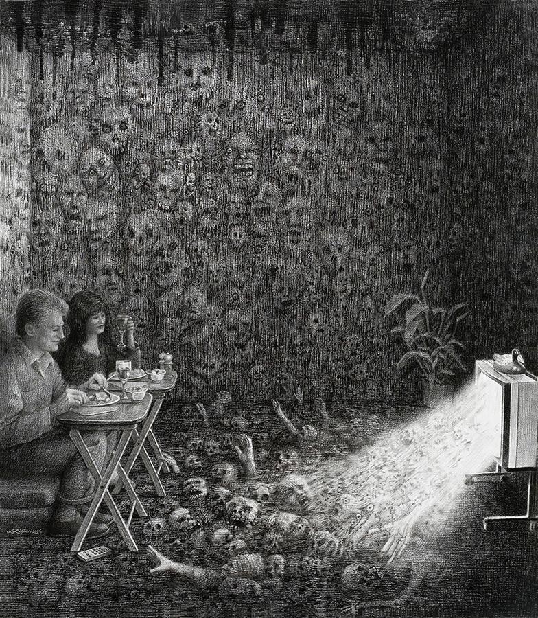 Laurie Lipton, lápiz, dibujos, 'Prime Time 2006' ('El horario de máxima audiencia 2006'), carboncillo y lápiz sobre papel, 67x58.5cm / 26