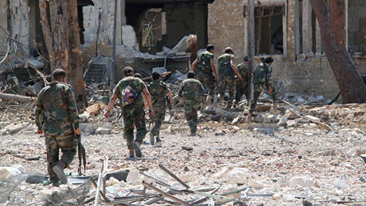 Militares sirios en el territorio de la academia militar de Alepo, el 5 de spetiembre de 2016.