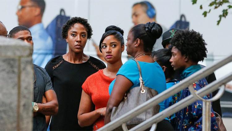 La familia del afroamericano Keith Scott, Charlotte, Carolina de Norte, EE.UU., el 23 de septiembre de 2016.