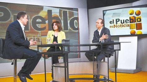 El Procurador en el estudio de Bolivia Tv, en un programa anterior de