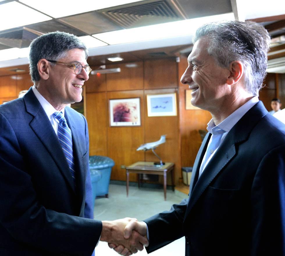Jack Lew junto al presidente argentino, Mauricio Macri.