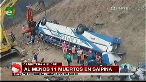 Se elevan a 11 los fallecidos en grave accidente de bus en Santa Cruz